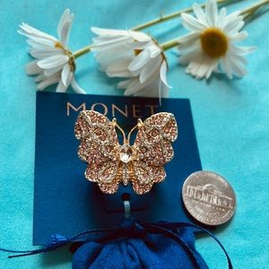 New Monet pink and clear rhinestone butterfly ring